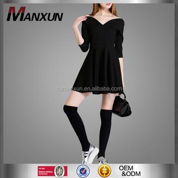 Classical Little Black Dress Sexy V Collar Slim High Waist Club Mini