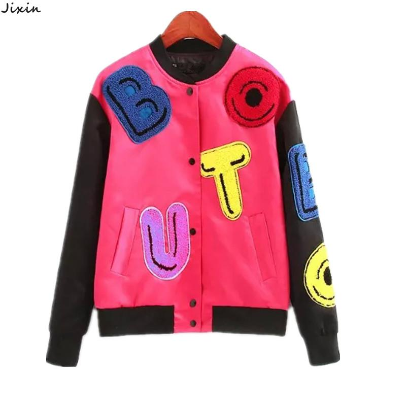 Autumn Women's Baseball Jacket Flocking Letters Appliques Patchwork Thin padded Jacket And Coats chaquetas mujer casaco feminino