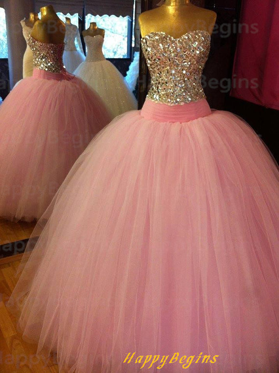 2014 New Design Elegant Beaded Open Back Pink Ball Gown Evening ...