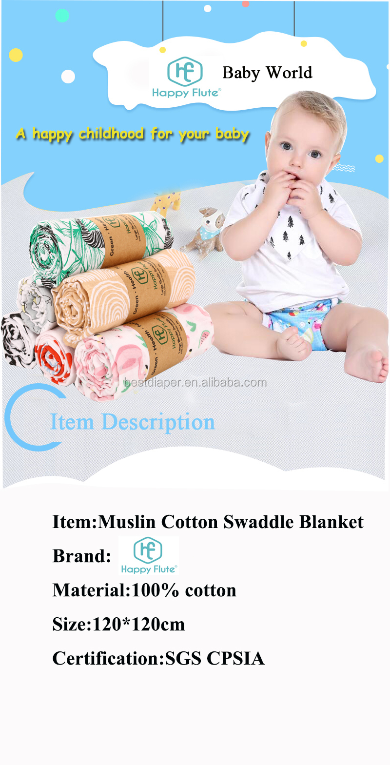 HappyFlute High quality animal print custom baby cotton muslin swaddle blanket for kids