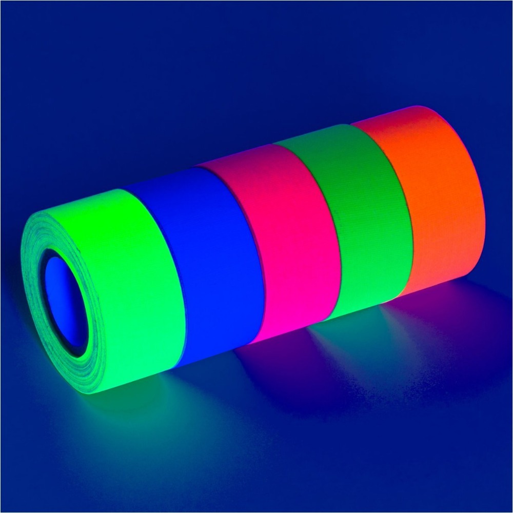UV blacklight neon fluorescent duct gaffer cotton tape masking for decoration party