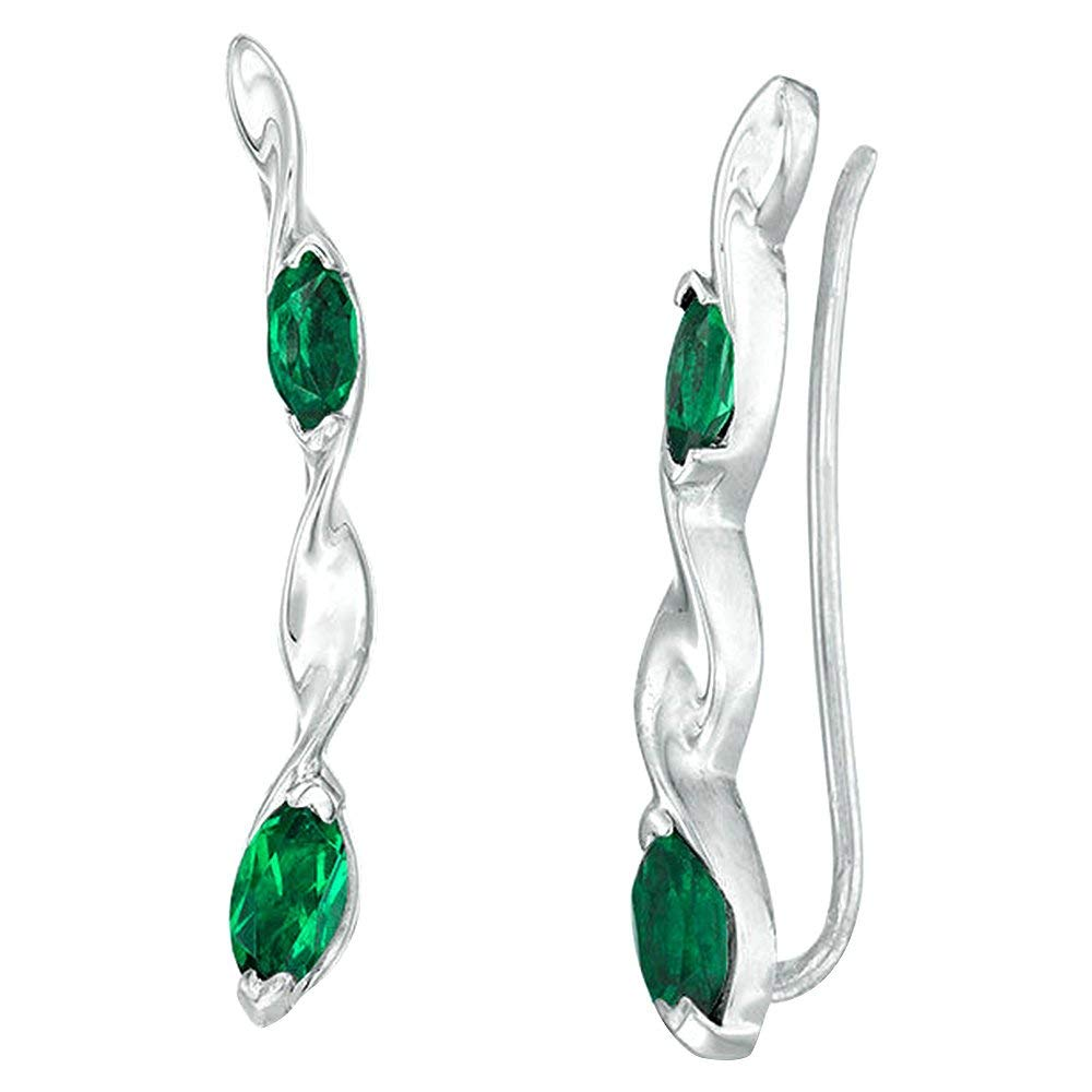 Get Quotations Panache Exports Marquise Created Emerald Twist Crawler Earrings In 10k White Gold