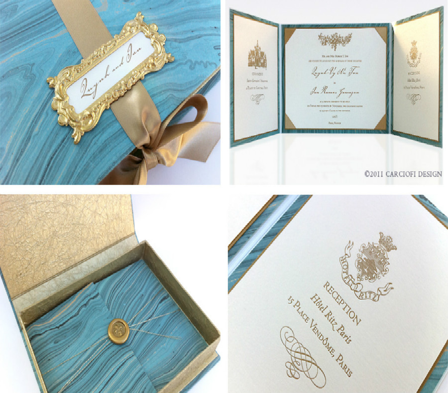 Personalizzato light blue hardcover apribile carta dell'invito di cerimonia nuziale con sigillo di cera
