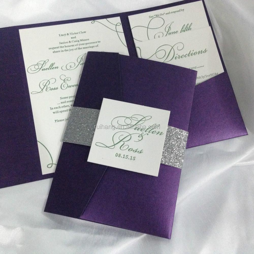 Turquoise Luxurious Letterpress Glitter Pocketfold Wedding Invitations Cards