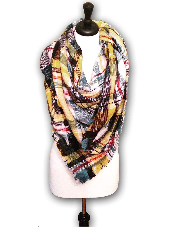 KnitPopShop Blanket Scarf Striped Oversized Plaid Tartan Scarves