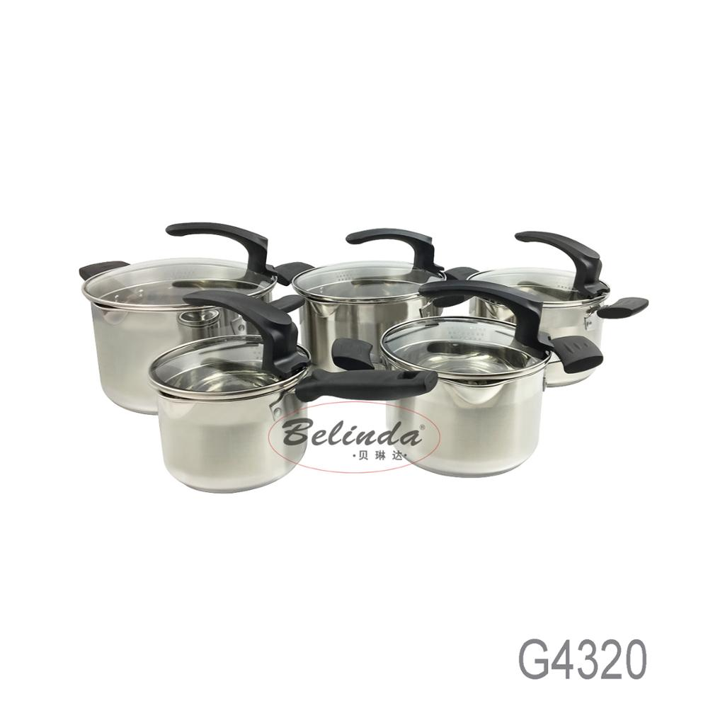 Home Cooking Capsule Induction 10 Pcs Glass Lid Stainless Steel Kitchen Queen Cookware Set with Pouring Mouth