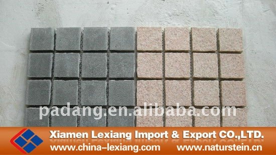 Flamed Granite pavers cobblestones on mesh