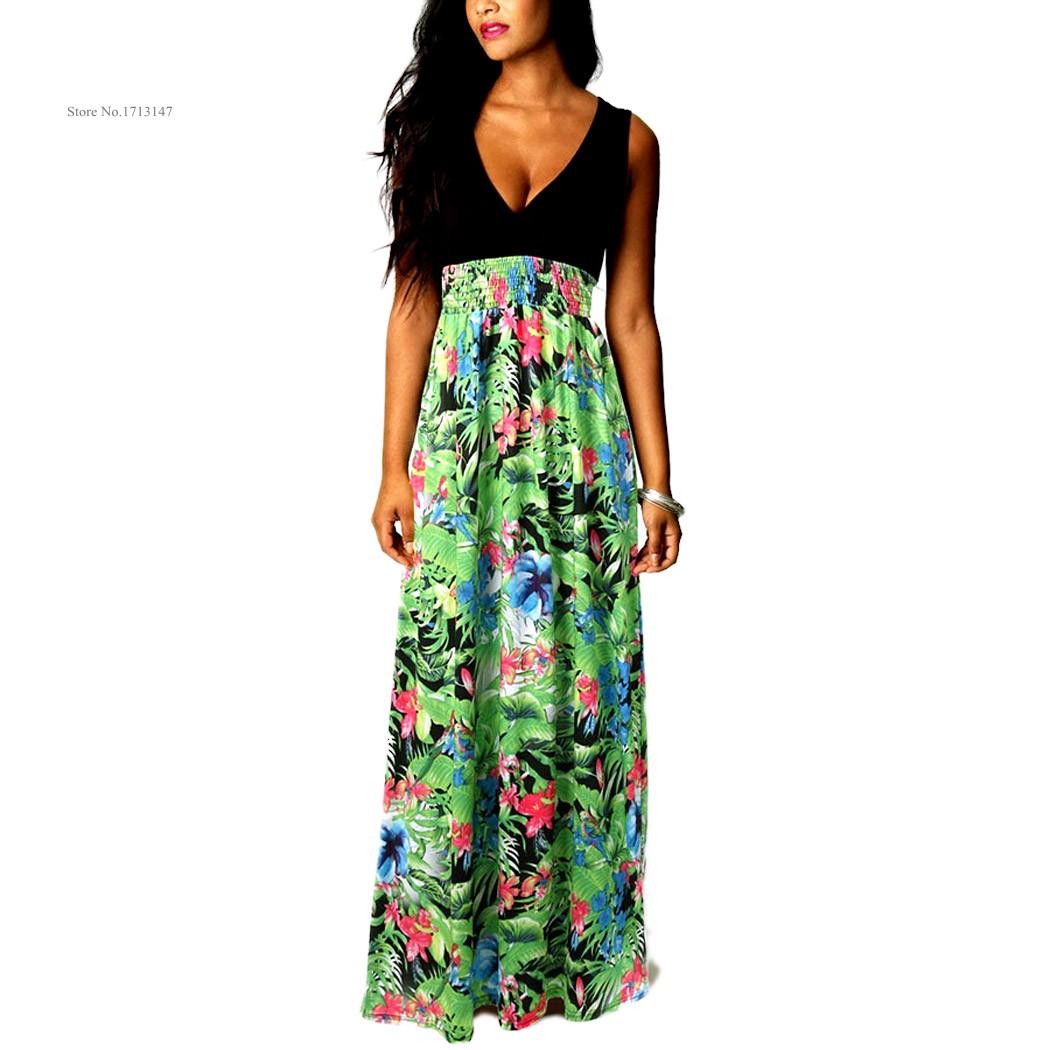 Plus size Summer Beach Women V Neck Sleeveless High Waist ...