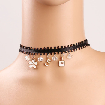 Diy Lolita Black Fabric Choker Necklace 26 Letter Pendant Lace