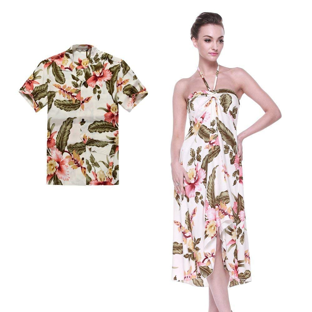 c6617d1a17a8 Get Quotations · Couple Matching Hawaiian Luau Party Outfit Set Shirt Dress  in Cream Rafelsia