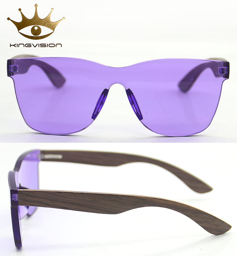 Factory Customization Comfortable Durable Purple Wooden Sunglasses