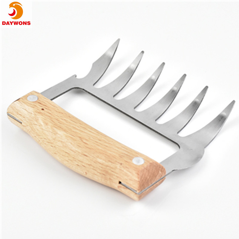Metal Meat Claws Stainless Steel Meat Forks with Wooden Handle Pulling Handing Lifting Serving Pork Meat and Chicken Bear Claw
