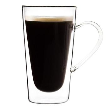 Large Double Wall Glass Coffee Mug With Handle Borosilicate Glass
