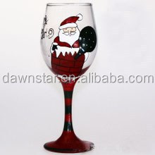 christmas painted wine glass for christmas day