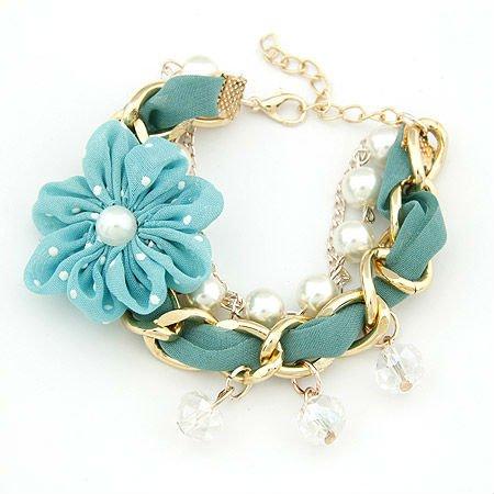 Venta caliente de la gasa de flores pulseras pulseras de perlas de imitación al por mayor