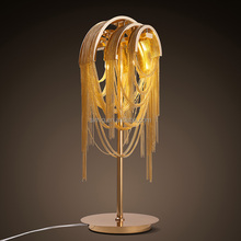 new topdesign aluminum material lampshade golden body led table lamp