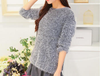 0e5d3fb06 2017 2018 Women Loose Knit Fuzzy Hair Mohair Pullover Sweater - Buy ...