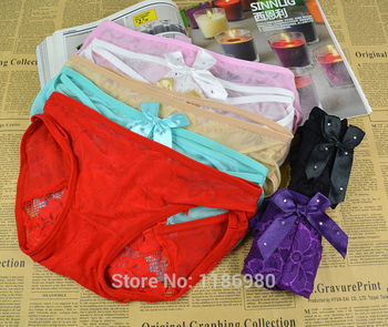 c463ae363f Hot Sale Sexy Lace V-string Briefs Thongs G-string Cute Women Panties  Wholesale