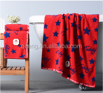 Red and blue color dye yarn jacquard cotton face towel/hand towel/ bath towel