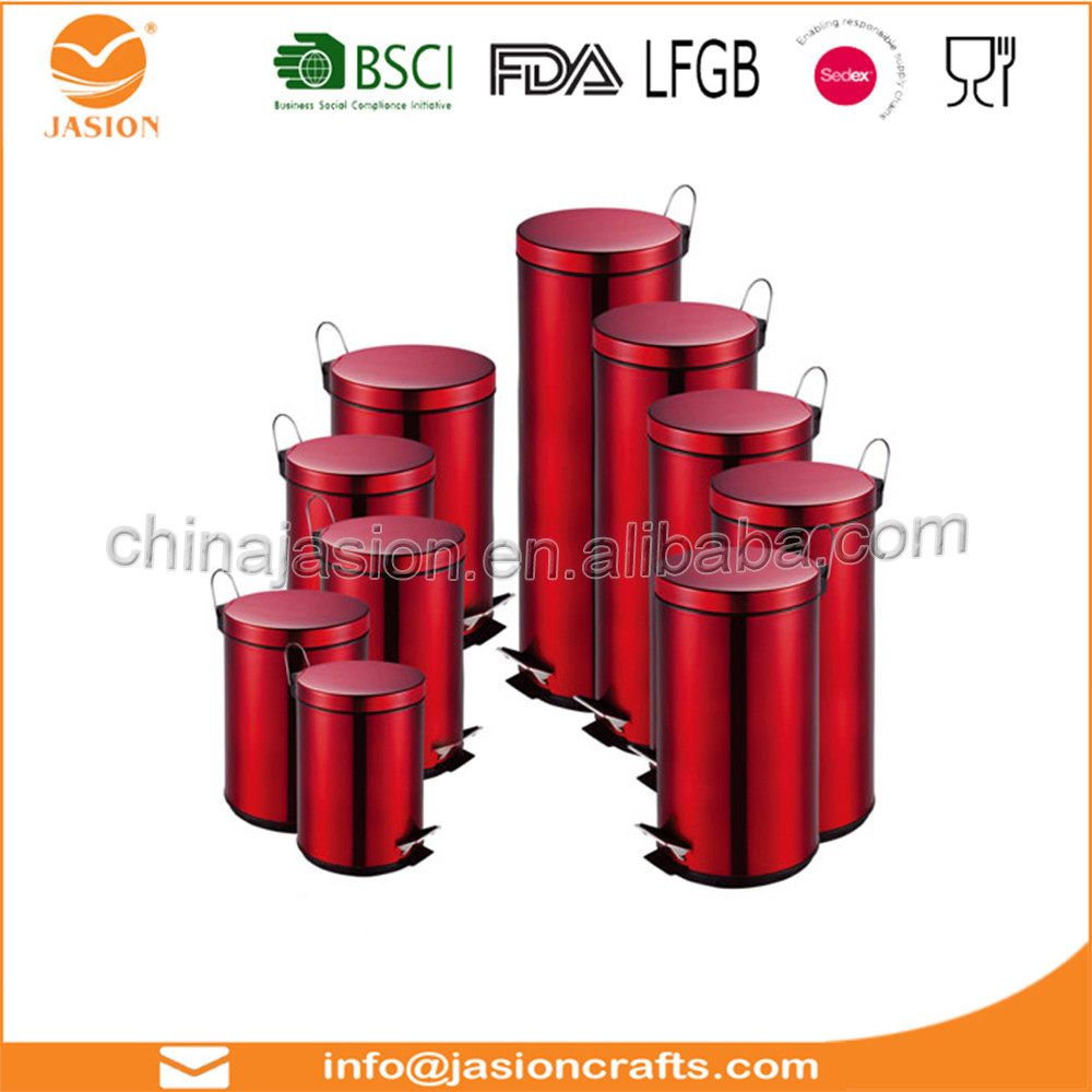 20 Litre Red Glossy Metallic Pedal Bin With Inner Bucket