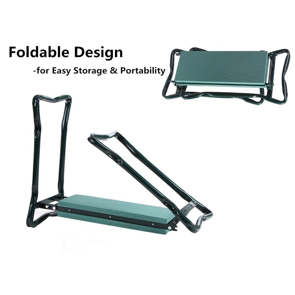 Foldable Garden Kneeler and Seat with 2 Tool Pouches Soft Knee Pad Cushion Portable Folding Chair