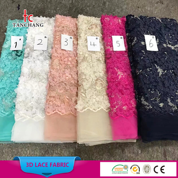 factory wholesale lace fabric with rhinestone textile lace fabric african lace dress fabric SRMF3D-02