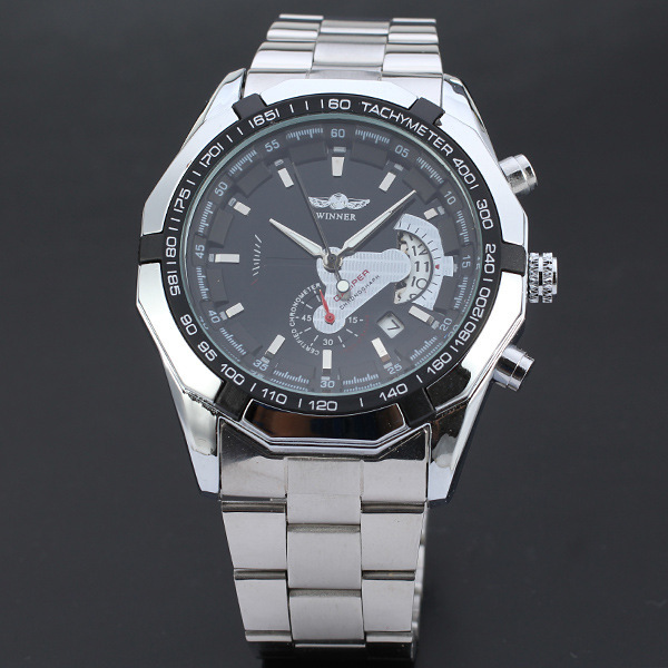 WINNER three-pin automatic mechanical style metal fake eye belt calendar leisure machinery steel watch