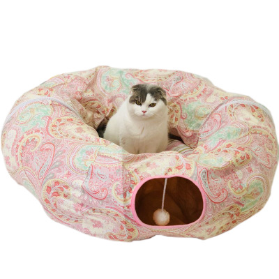 Hot koop grappige luxe ronde print pet cave kat tunnel bed