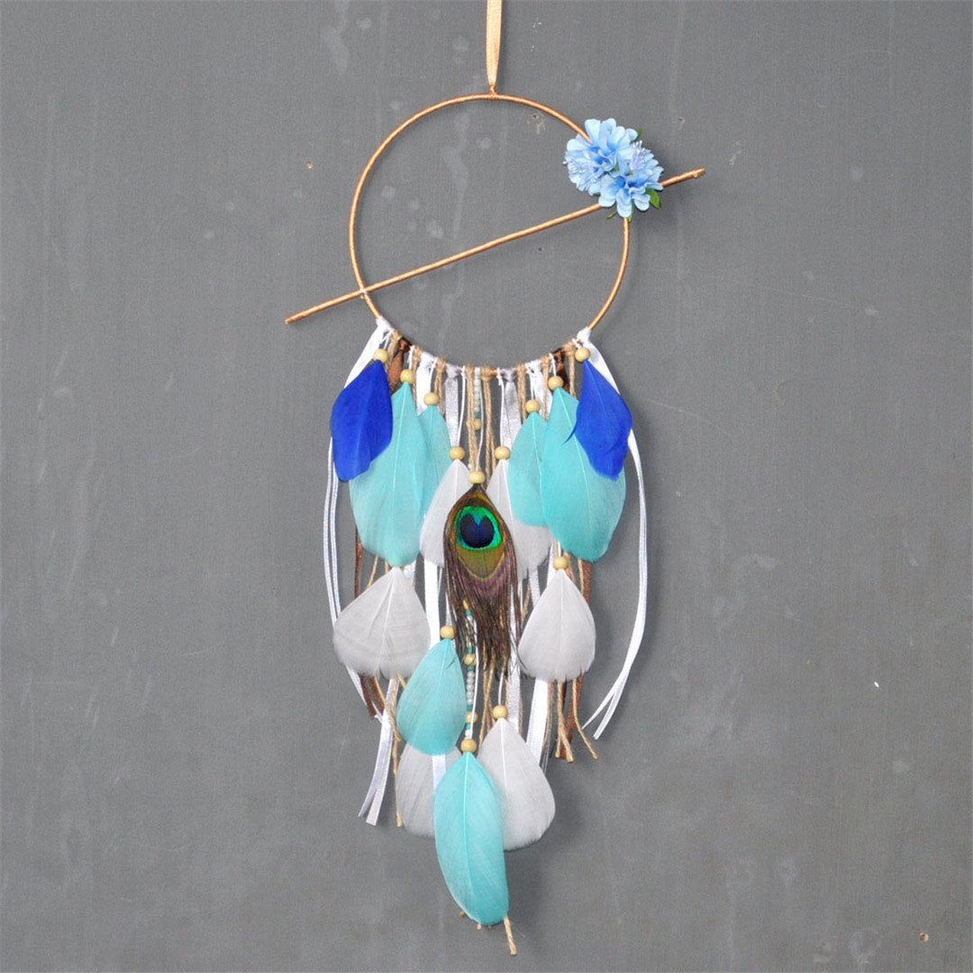 Blue Flowers & Brown Wind Chimes Pastoral Style Home Wall Hanging & Wedding Decor Pendant Dream Catcher Regalo