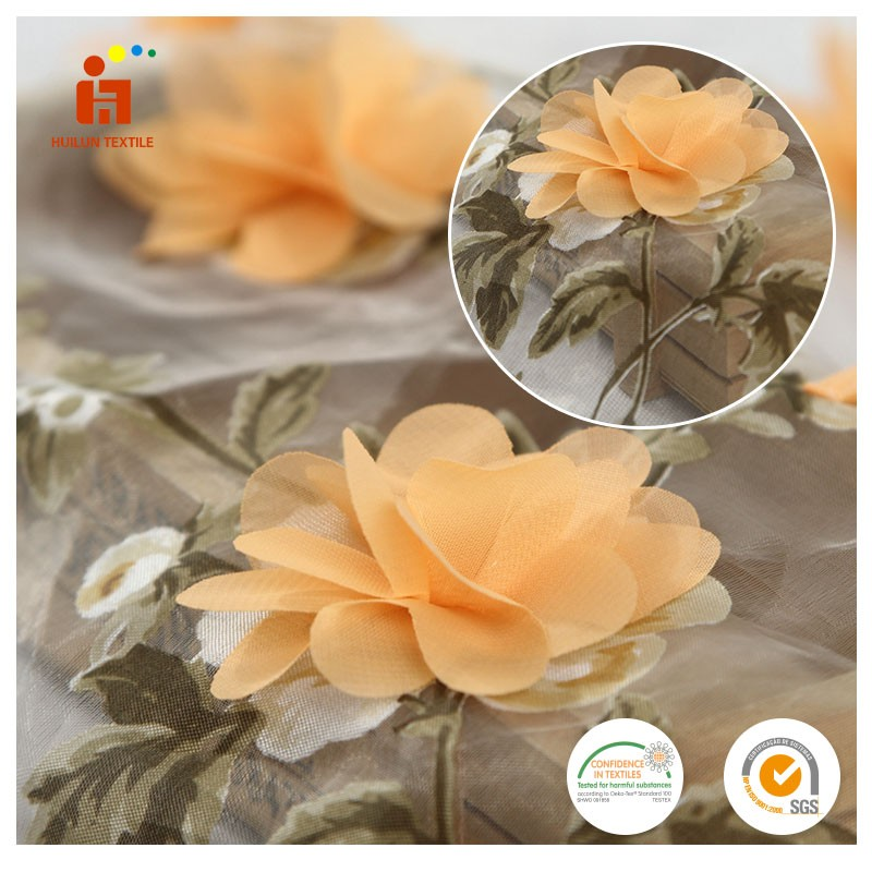 Beautiful embroidery design vivid 3d flower embroidered organza yellow floral lace fabric wholesale