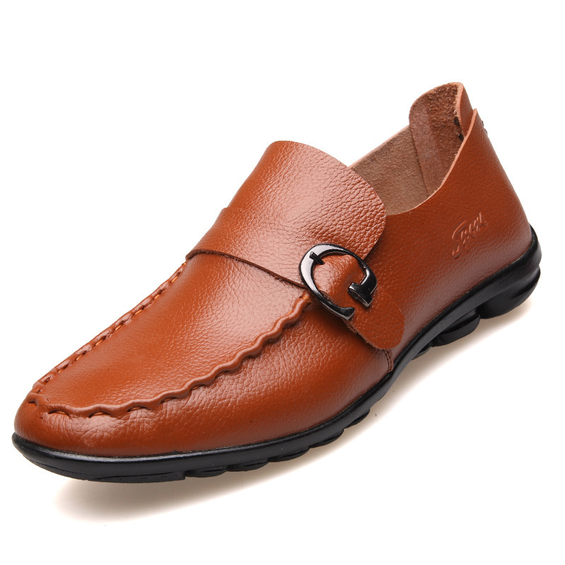 Men Loafers Shoes Spring/Autumn 2015 Brand Mens Buckle Solid Color Flats Casual Shoes Mens Slip On Shoes Genuine Leather Loafers