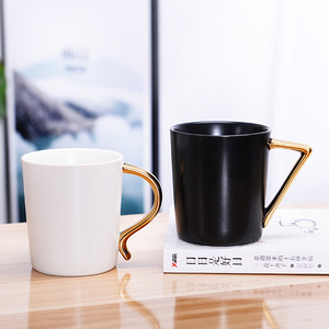 2018 White And Black Ceramic Coffee Mug Plating Gold Handle Creative Milk Tea Drink Breakfast Cups