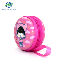 Highly Decorated Small Round Tin Box With Zipper Popular Gifts For Kids Food Package Or Toys