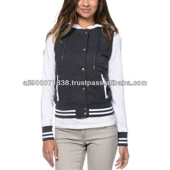 Fashionable black varsity baseball girls jacket