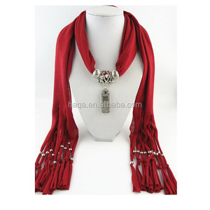Special scarf with perfume bottle pendant/latest arrival fashion design jewelry scarf