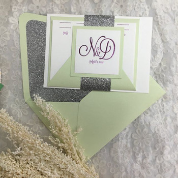 Beautiful Envelopes Glitter Wedding Invitation Cards With