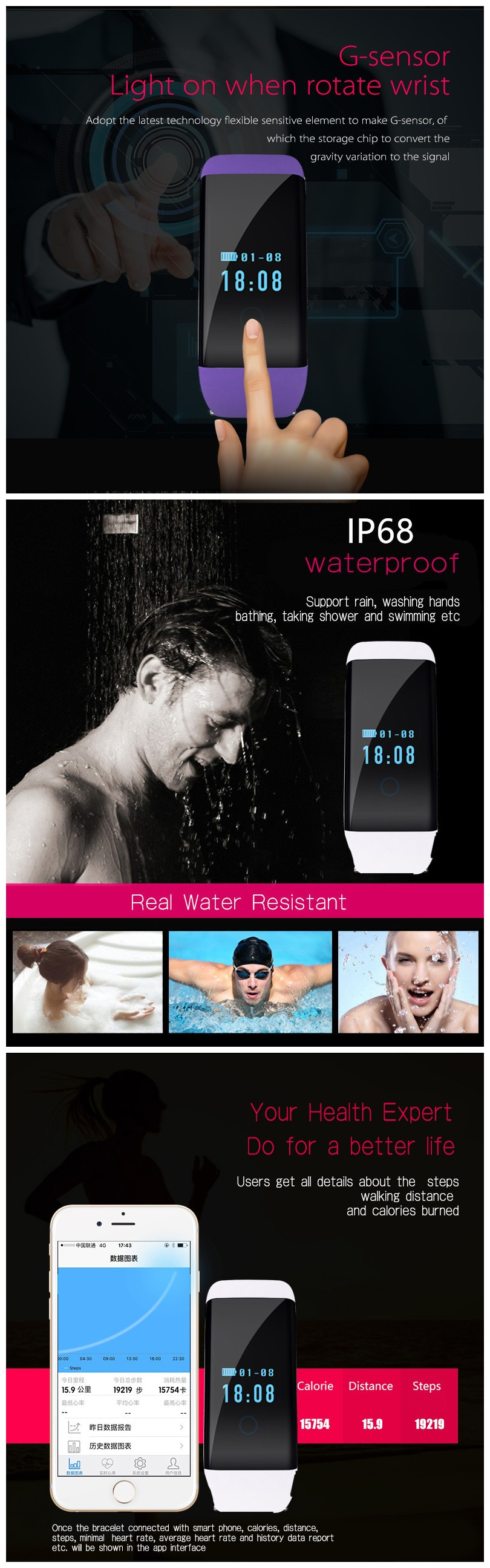 Swimming smart bracelet heart rate Waterproof IP68 Fitness Tracker Wristband D21 Bluetooth Sport Smartband for IOS Android