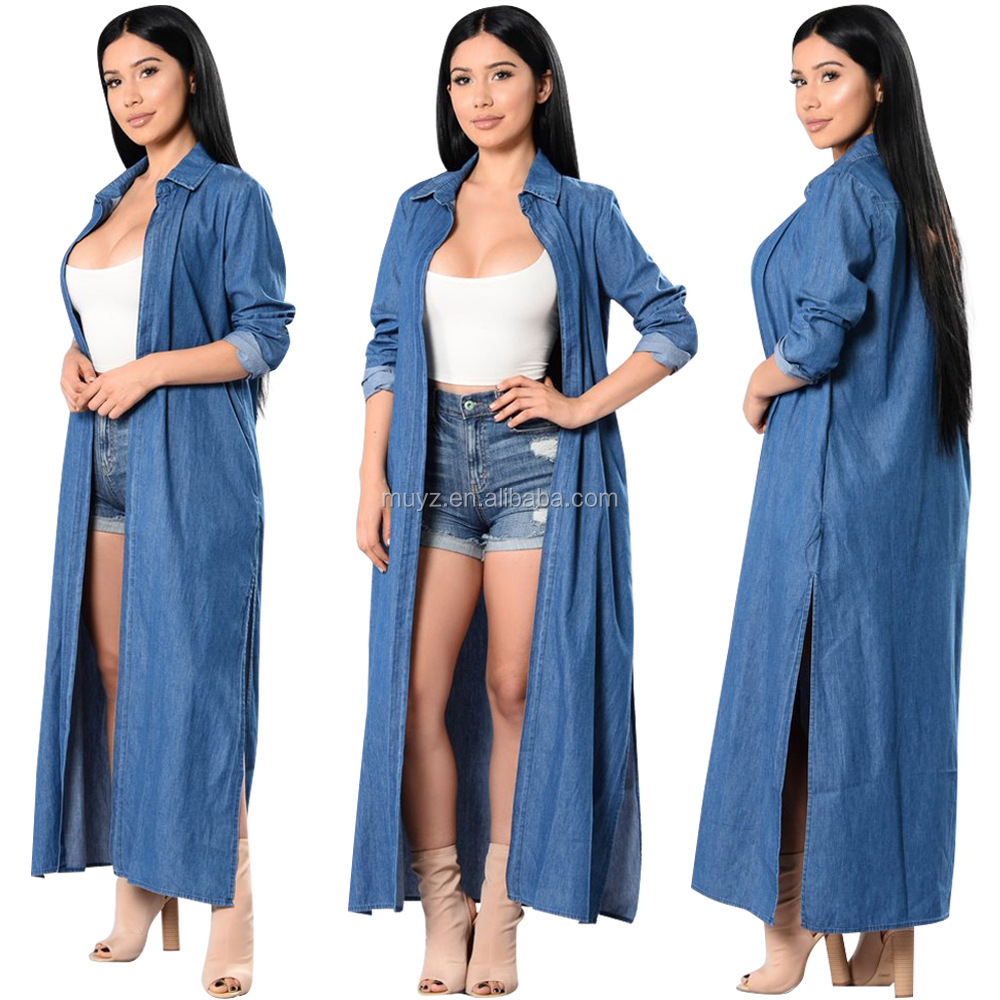 L1908A latest design ladies long coat simple women summer spring long denim jieans trench coat