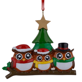 Owl family of 3 polyresin glossy personalized Christmas ornaments with green tree