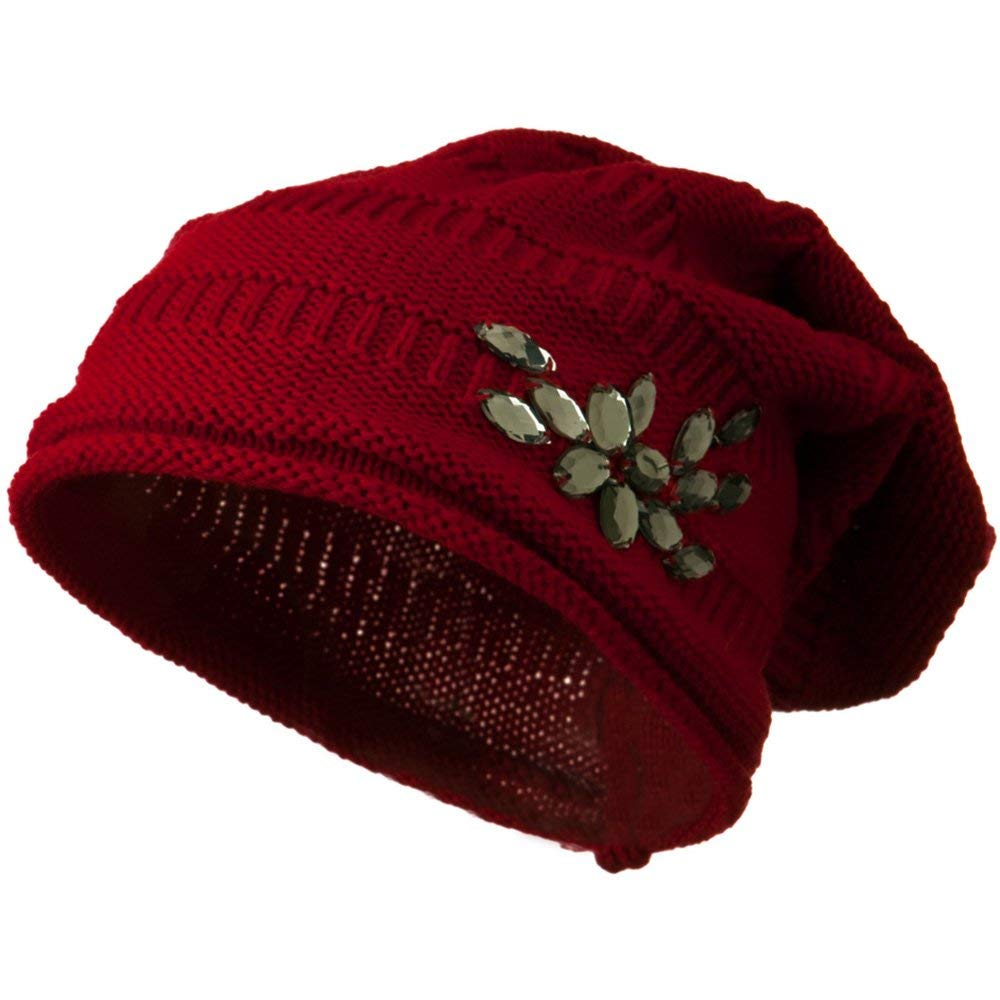 0dbeb9ea694 Get Quotations · Knit Deep Shell Hat with Rhinestone - Red W28S23D
