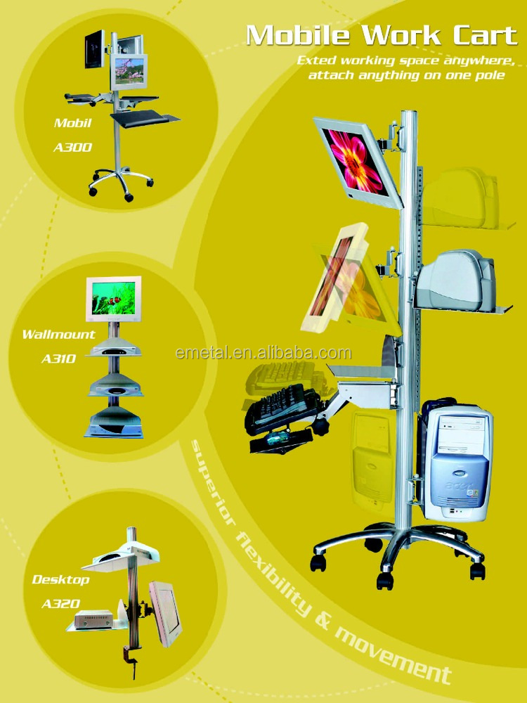 Hospital Mobile Medical Computer Cart with Monitor Printer Ergonomic Keyboard arm PC Holder Adjustable Height Lift