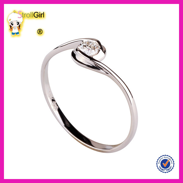 Elegant zircon finger ring new design ladies finger ring single lucky stone finger ring for women