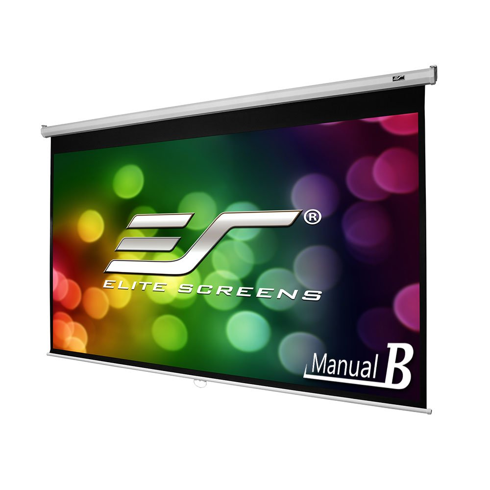 Elite Screens Manual B, 100-INCH, 16:9, Manual Pull Down Projector Screen 4K/8K Ultra HDR 3D Ready with Slow Retract Mechanism, 2-YEAR WARRANTY, M100H.