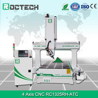 Roctech 4 axis CNC router machine with ATC / 180 degree Wood router with automatic tools change / swing spindle cnc carving