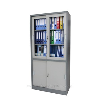 Office 2 Door Metal Storage Cabinet Sliding Bookcase Cabinets
