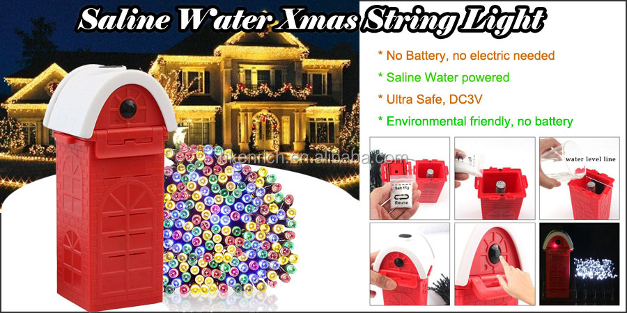 Novelty Mg-Saline Water Xmas LED String Light