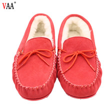 AN-CF-82 Popular antiskid red color sheepskin moccasins, leather slippers from poland