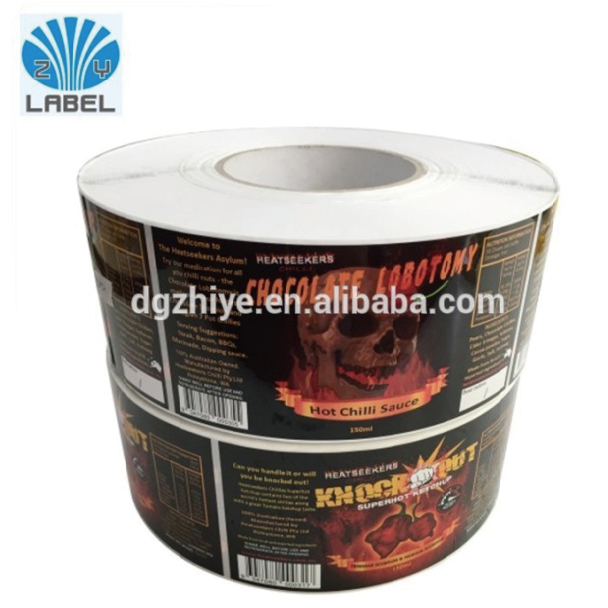Most demanded product Custom Stickers/Adhesive label printing hot spicy food labels for spicy jars
