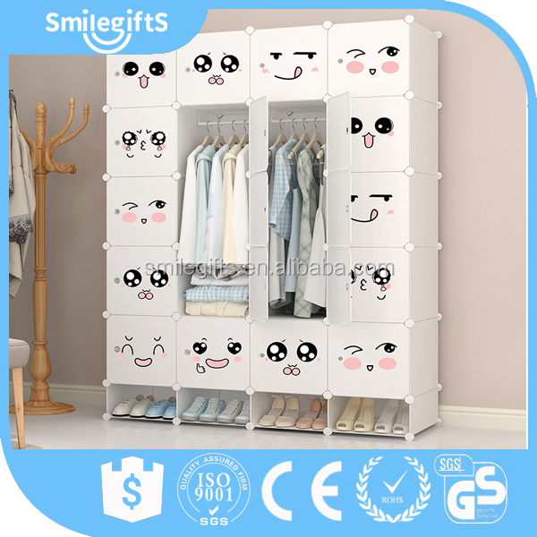 Modular Plastic Foldable Storage Wardrobe Closet with Shoe Cabinet