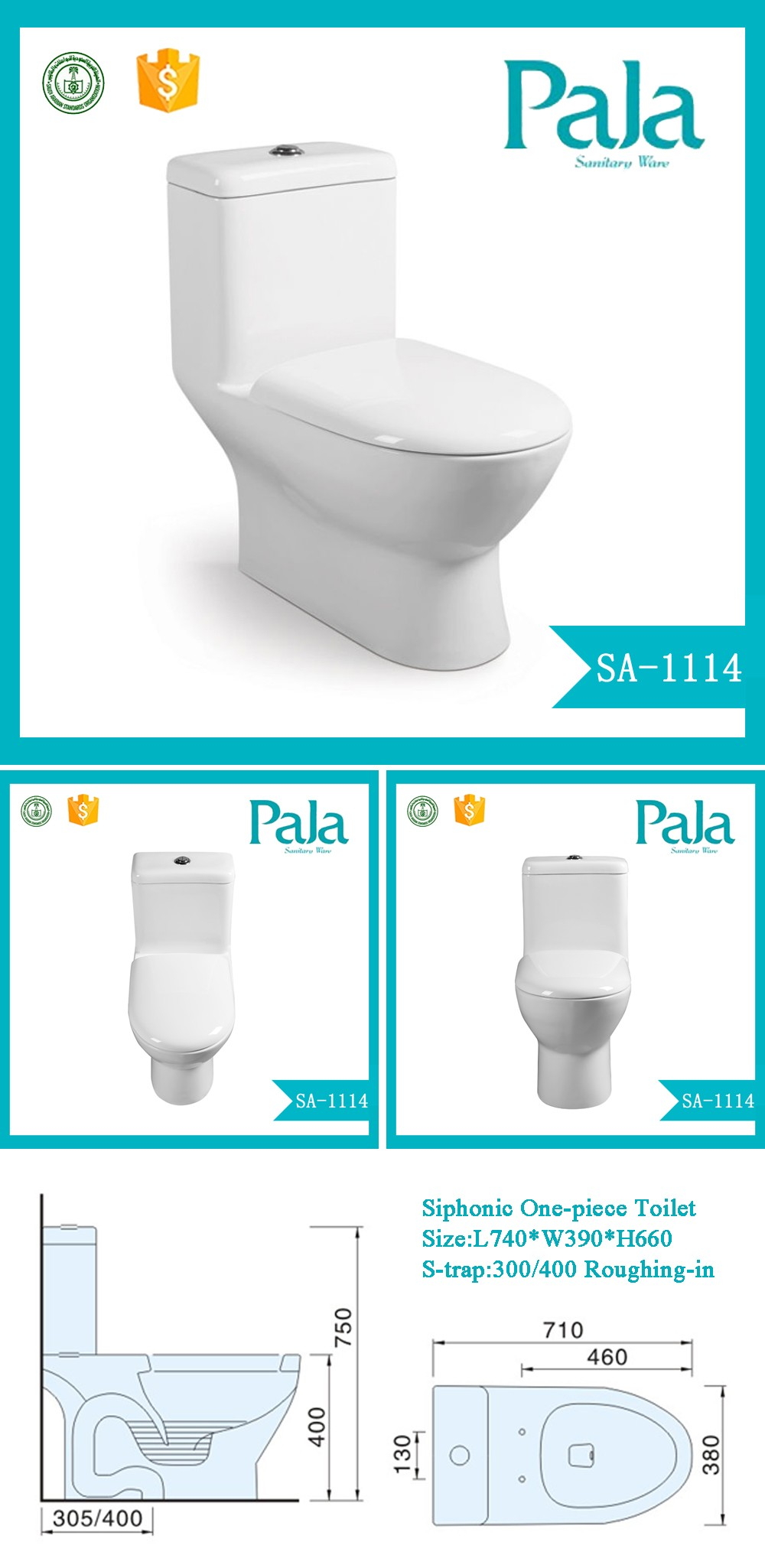 High Quality Home Decoration Ceramic Watermark One Piece Toilet Wc ...